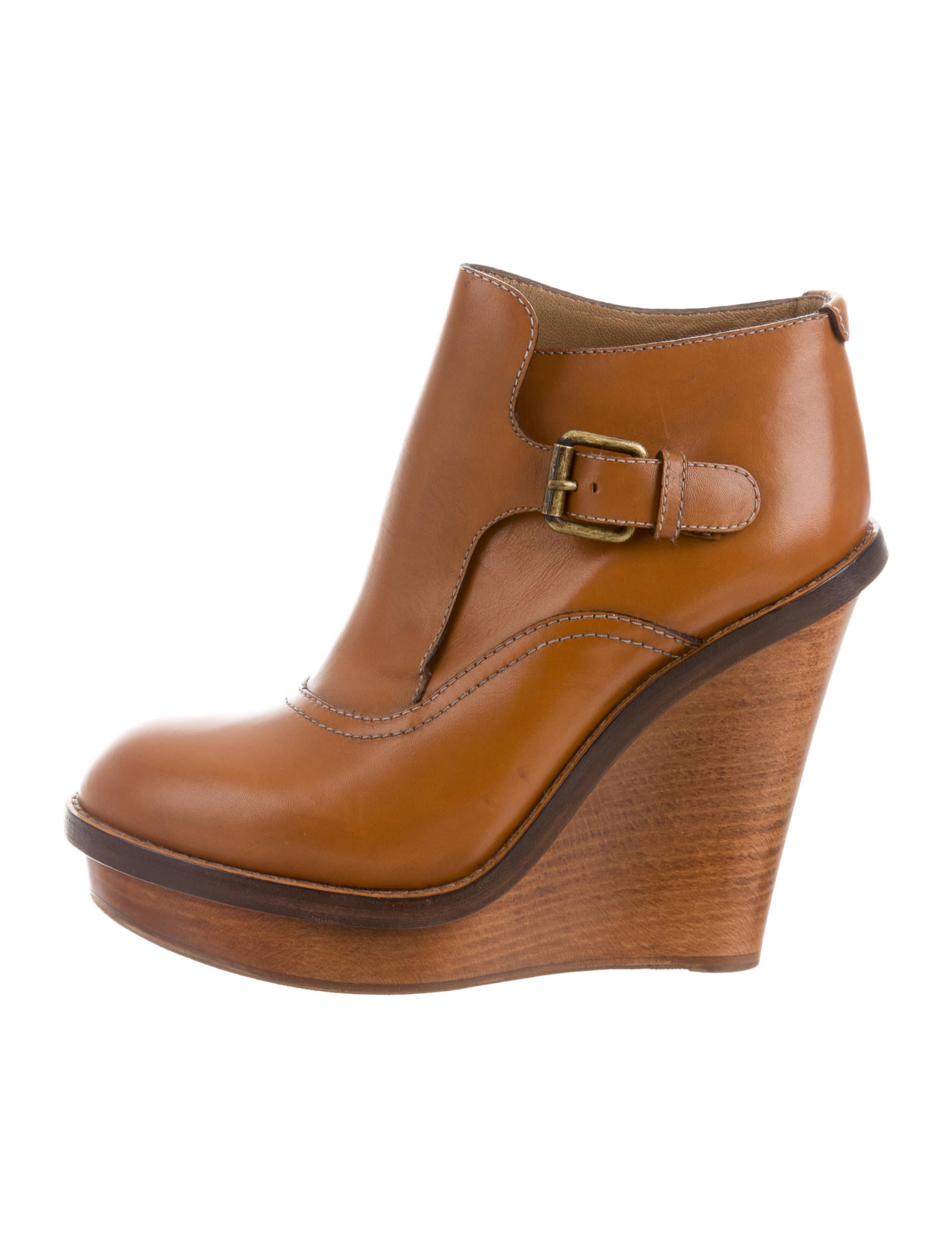 chlo 233 leather wedge ankle boots shoes chl51965 the