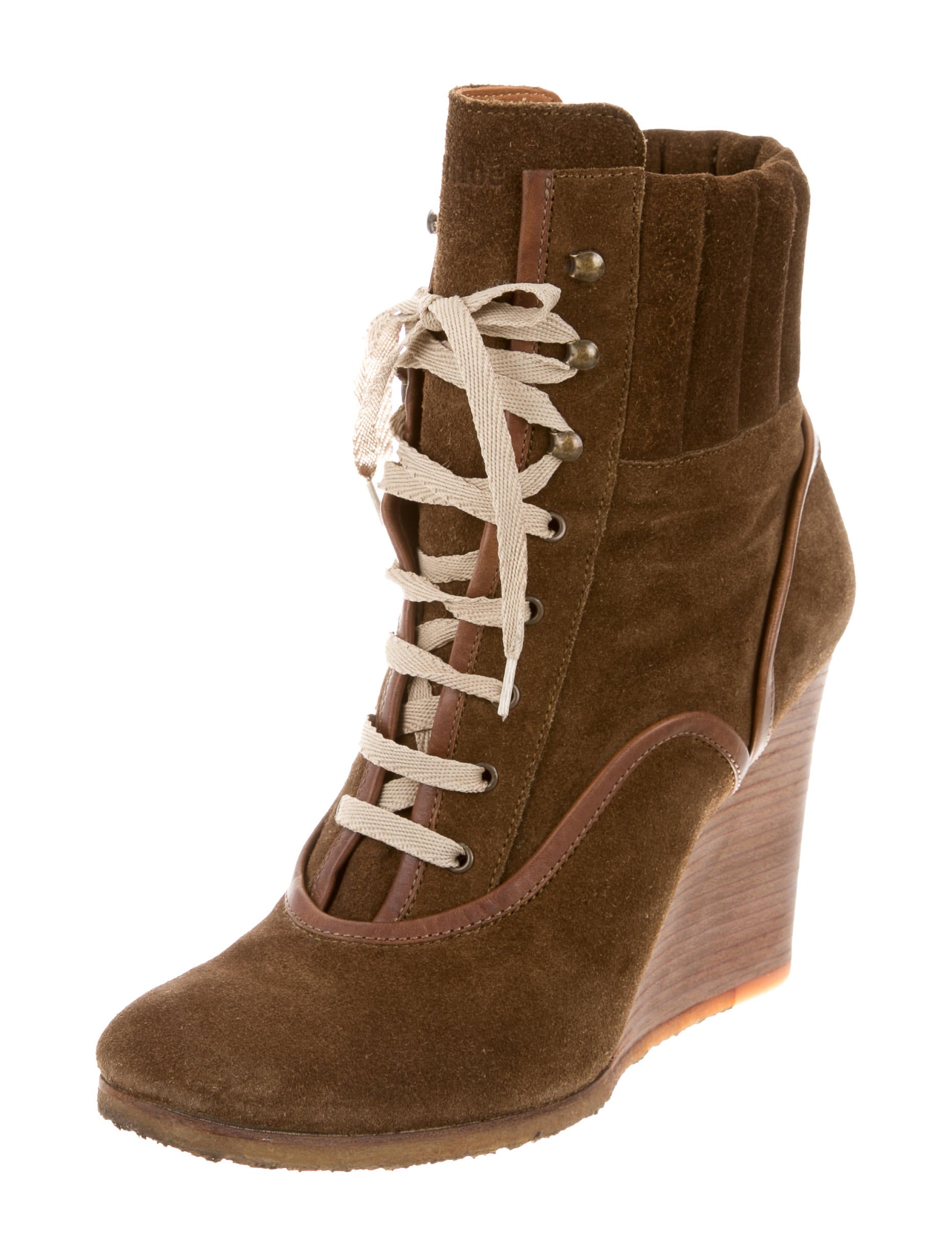 chlo 233 suede wedge boots shoes chl52009 the realreal
