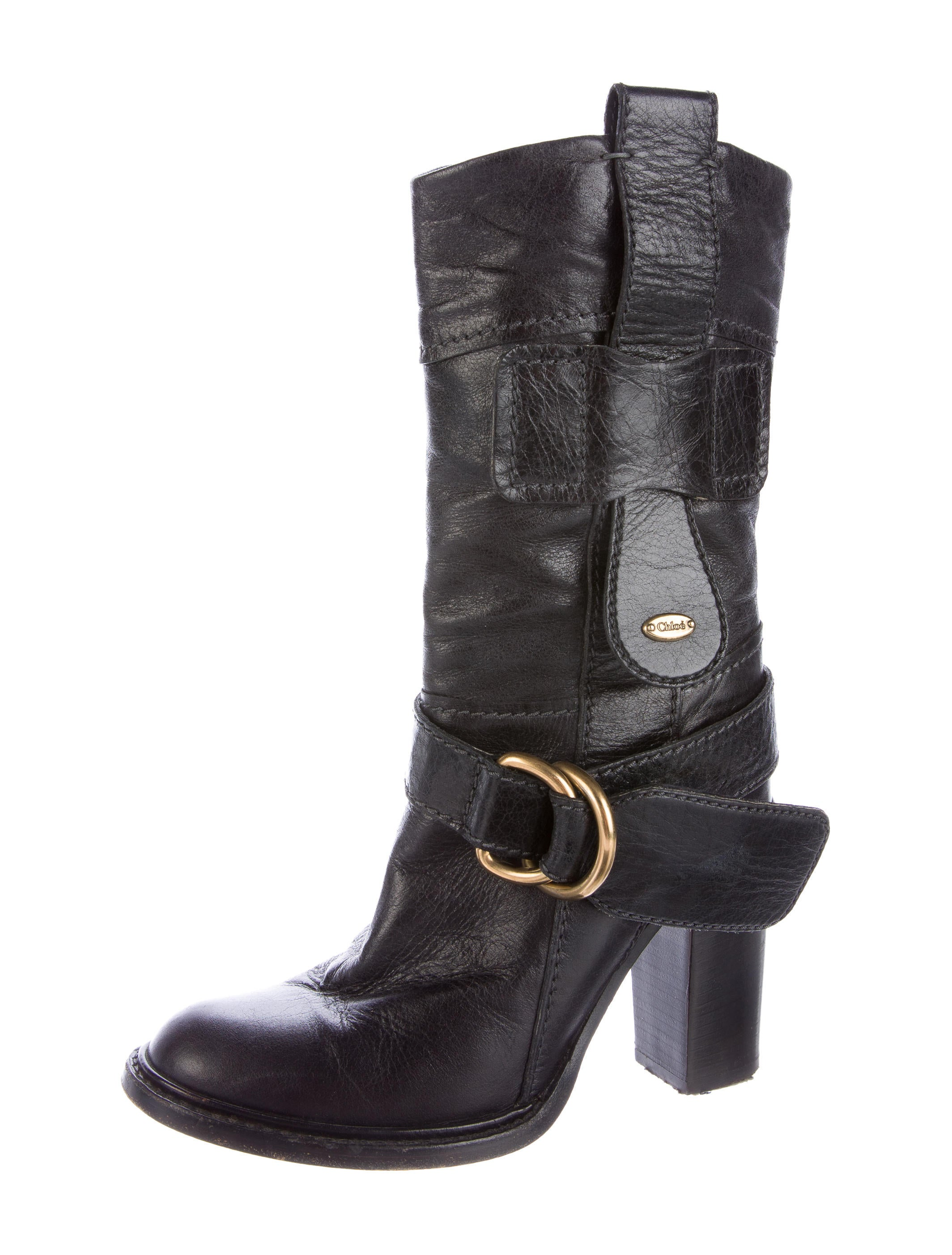chlo 233 leather buckle accented ankle boots shoes