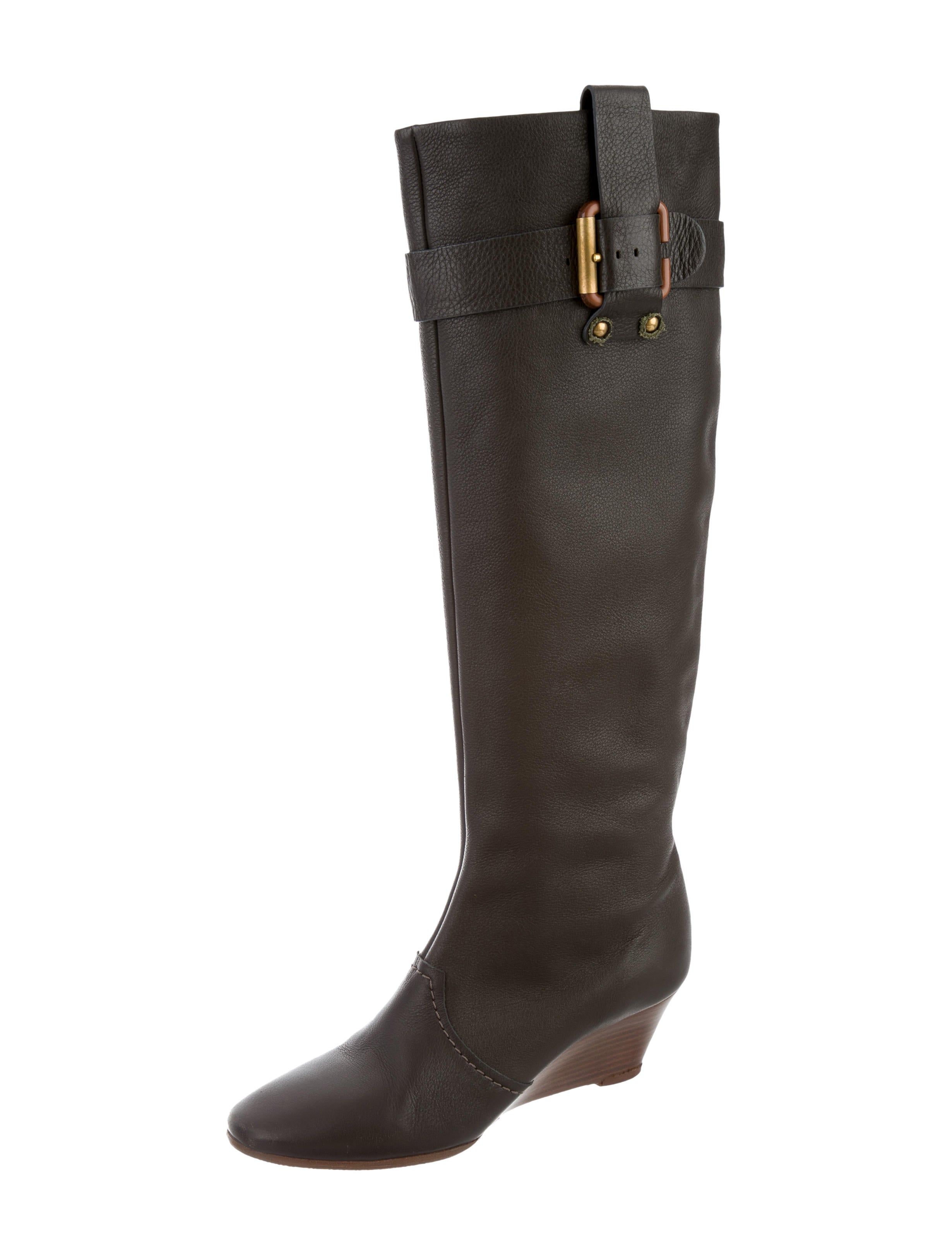 chlo 233 leather wedge boots shoes chl52700 the realreal