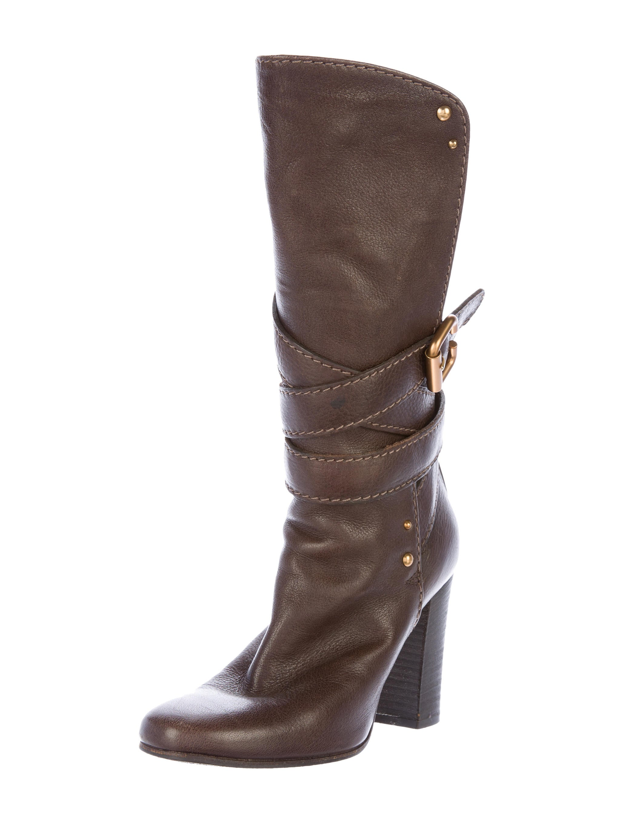 Chlo233 Buckle Accented Mid Calf Boots Shoes CHL52795  : CHL527952enlarged from www.therealreal.com size 2059 x 2715 jpeg 311kB