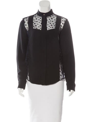 Chloé Mesh-Trimmed Button-Up Top None