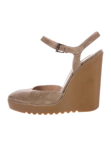 Chloé Suede Round-Toe Wedges None