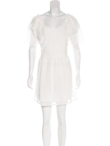 Chloé Embroidered Short Sleeve Dress None