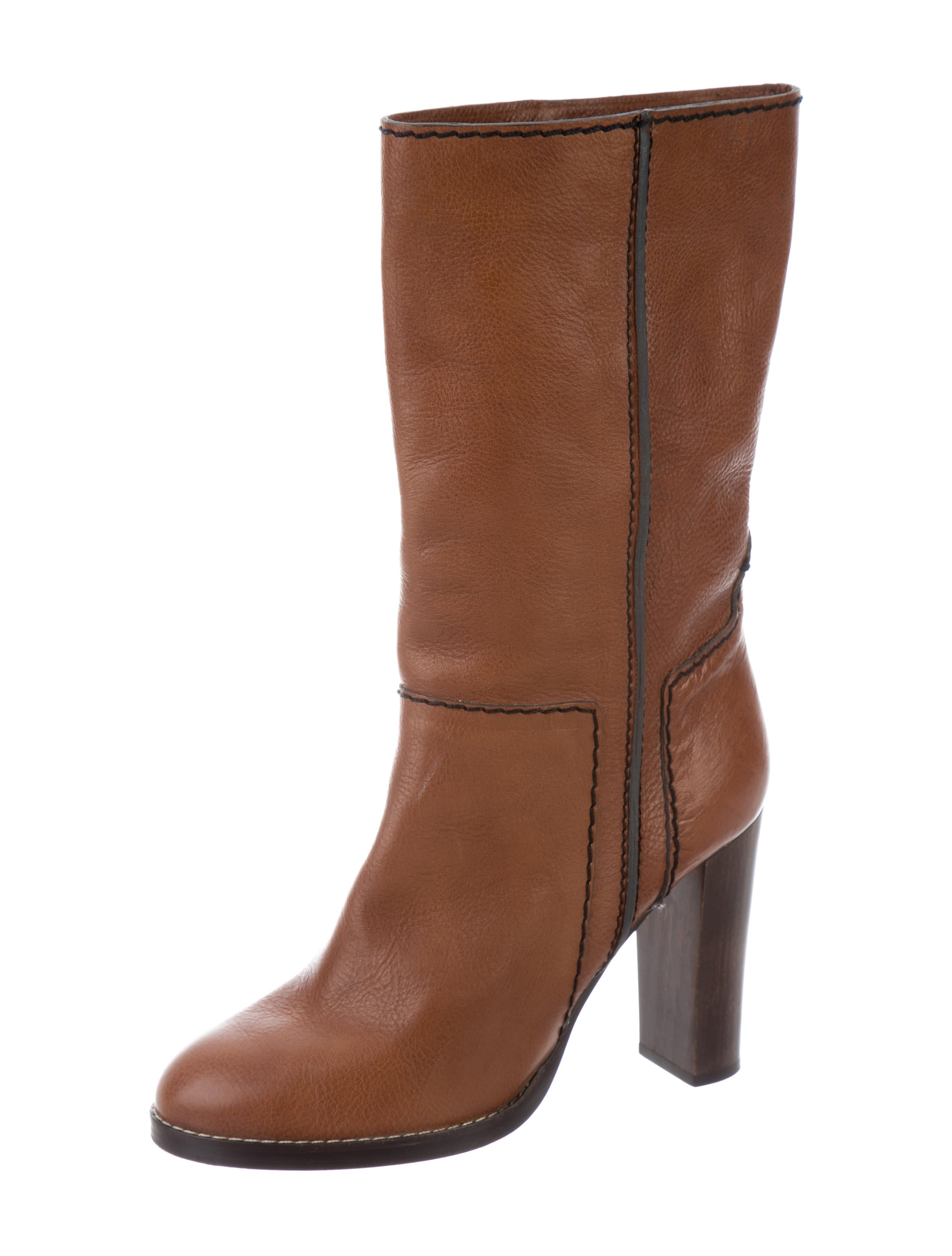 chlo 233 leather mid calf boots shoes chl58913 the realreal
