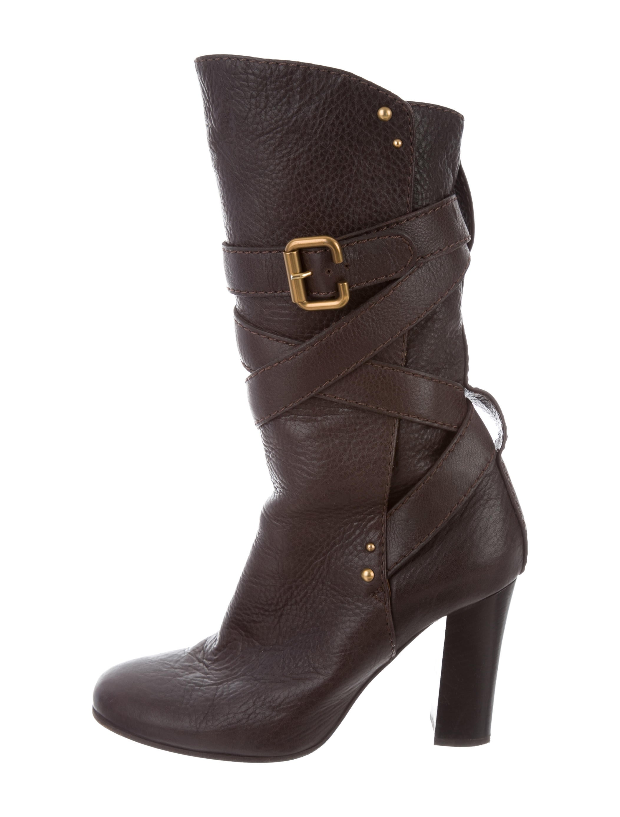 chlo 233 leather mid calf boots shoes chl59773 the realreal
