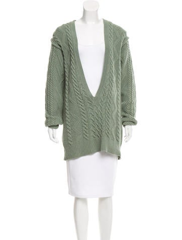 Chloé Cable Knit Wool Cardigan None