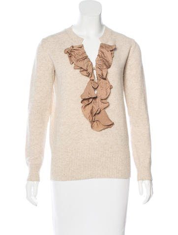 Chloé Wool Ruffle-Trimmed Sweater None