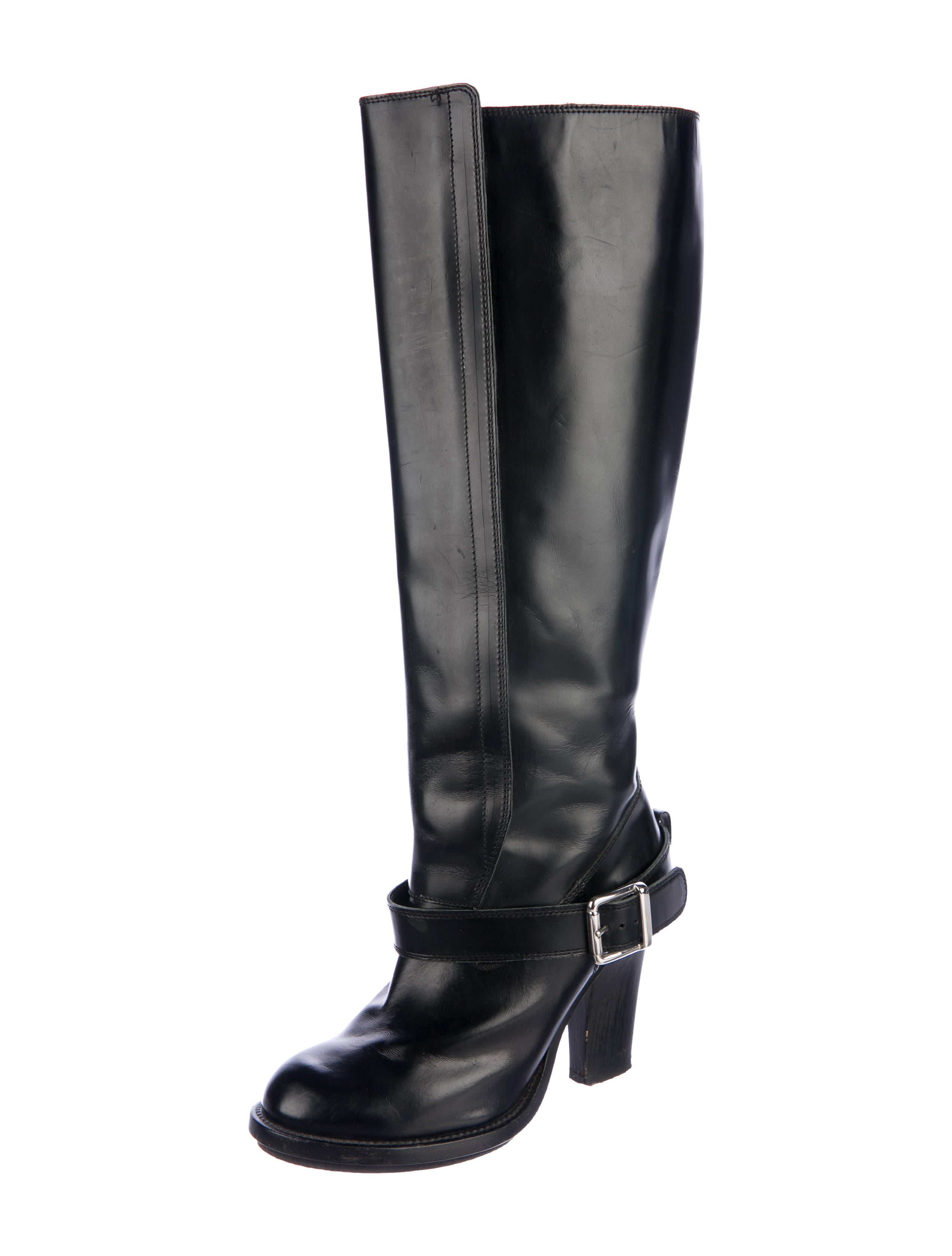 Chloé Leather Round-Toe Knee-High Boots discount with mastercard ZjlEyvf