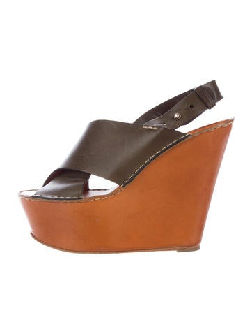 Chloé Leather Platform Wedges None