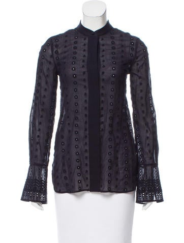 Chloé Embroidered Button-Up Top None