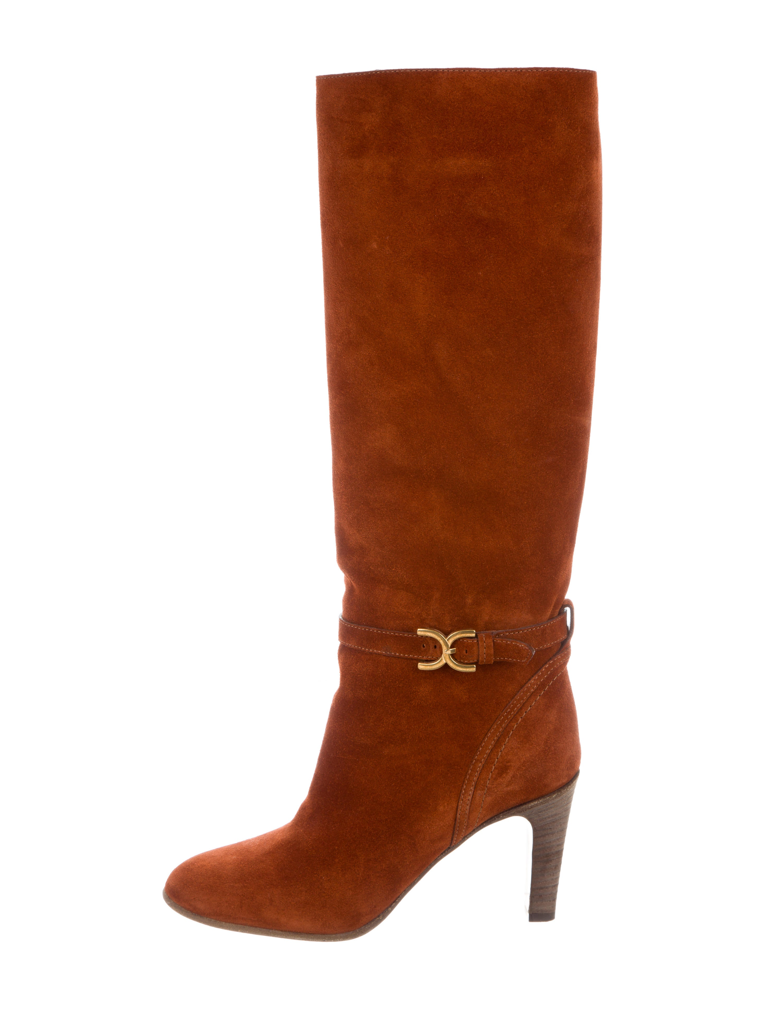 chlo 233 suede buckle accented knee boots shoes chl62064