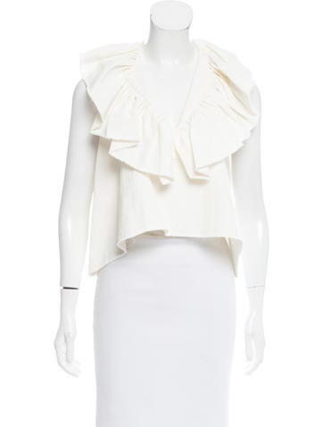 Chloé Ruffle-Trimmed Knit Top None