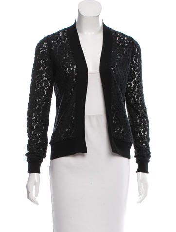 Chloé Lace-Accented Wool Cardigan None