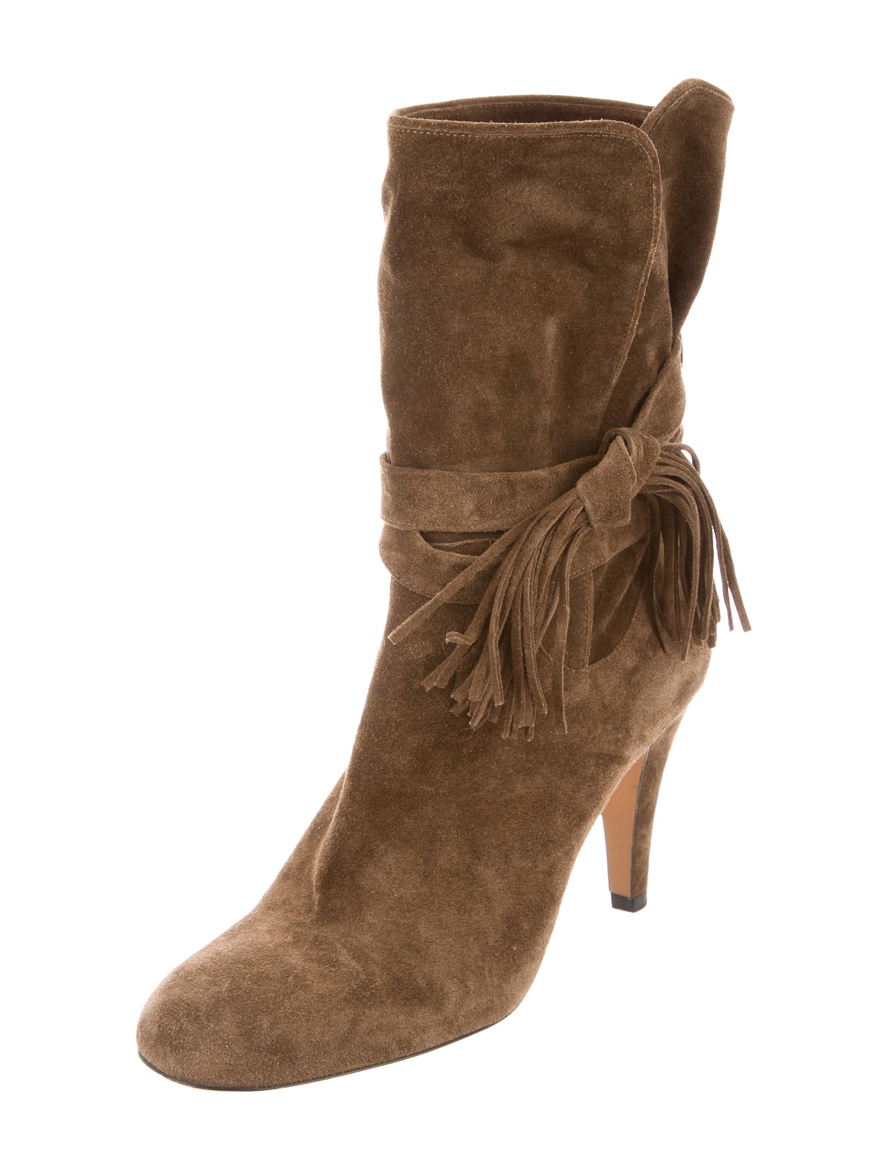 chlo 233 suede mid calf boots shoes chl65574 the realreal