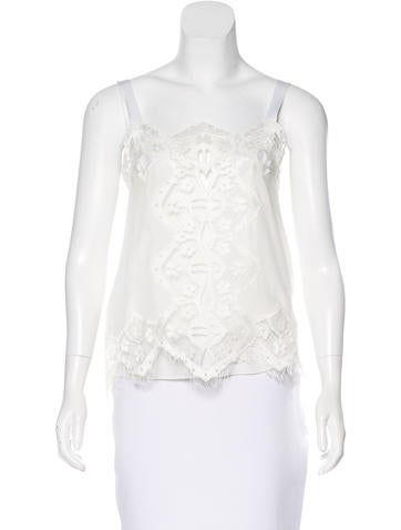 Chloé Lace-Accented Silk Top None