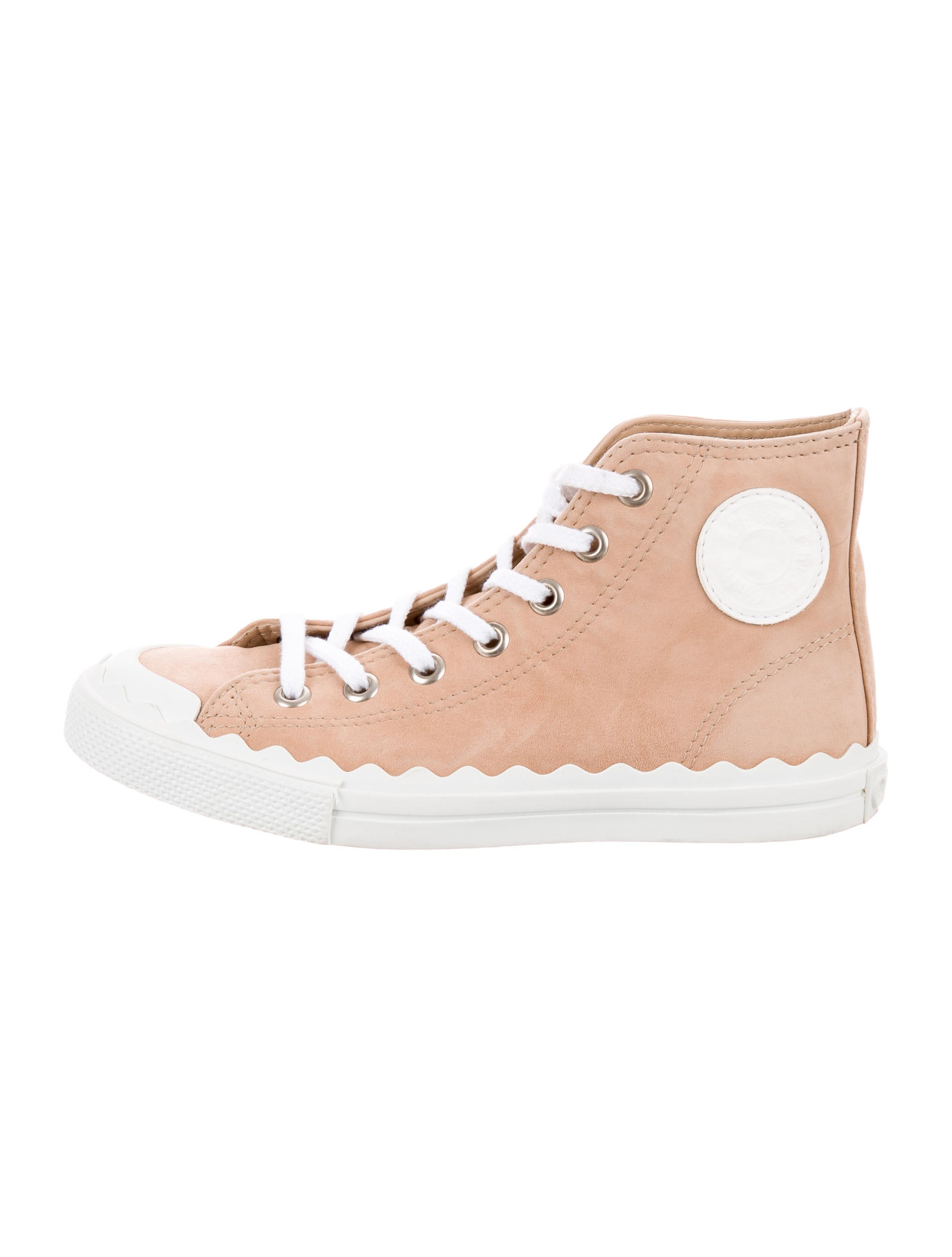 latest Chloé Tan Suede High-Top Sneakers free shipping countdown package JtL0tth