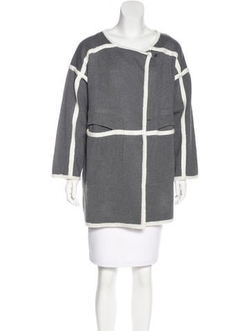 Chloé Collarless Knit Coat None