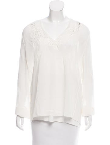 Chloé Lace-Trimmed Silk Top w/ Tags None