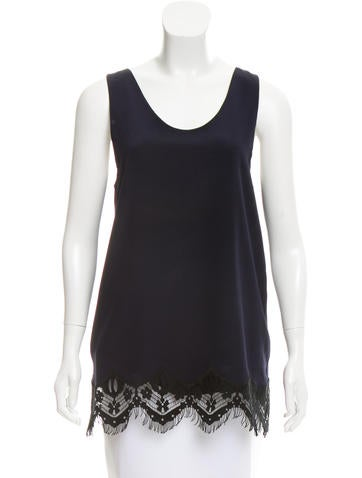 Chloé Silk Lace-Trimmed Top None