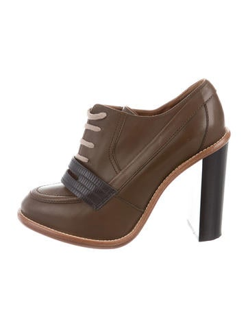 Chloé Leather Lace-Up Booties None