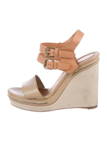 Chloé Leather Wedge Sandals None