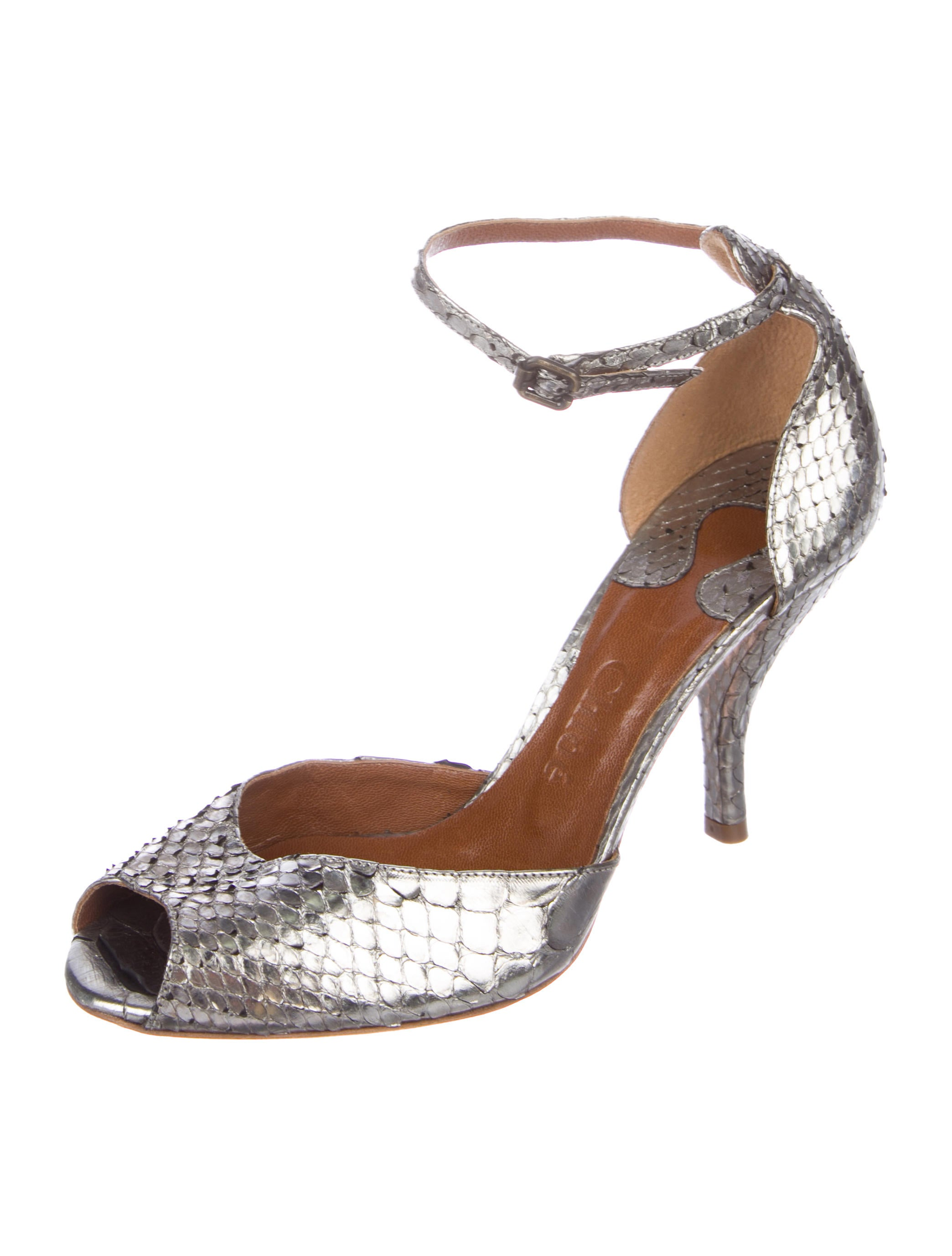 Chloé Metallic Python Sandals buy online with paypal cheap fashionable exclusive for sale how much for sale 3GSAAHnV