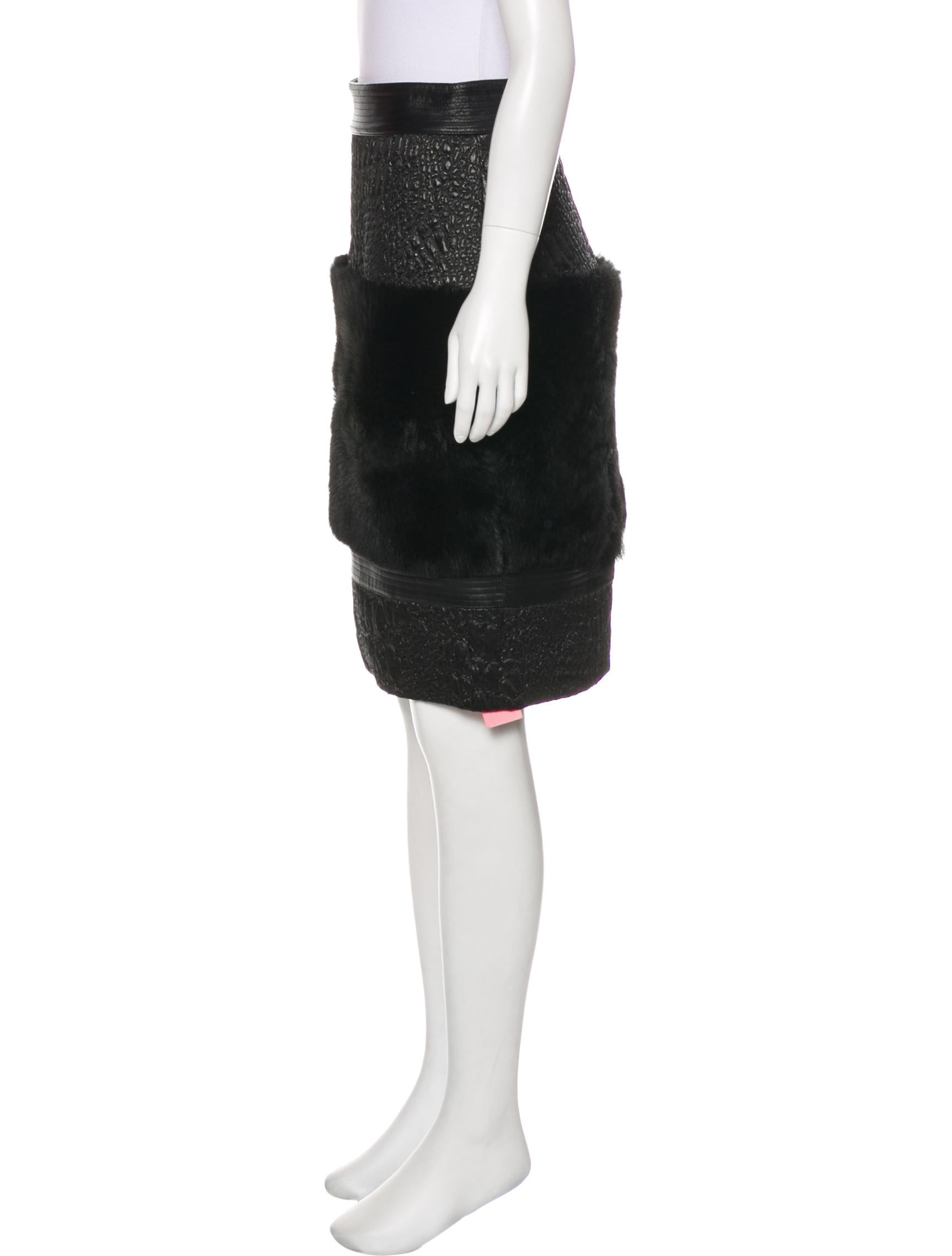 Buy Cheap Hot Sale Clearance Really Christian Siriano Shearling & Leather-Trimmed Knee-Length Skirt eqmnnVI