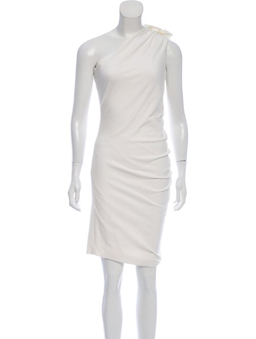 Christian Siriano One-Shoulder Ruched Dress White