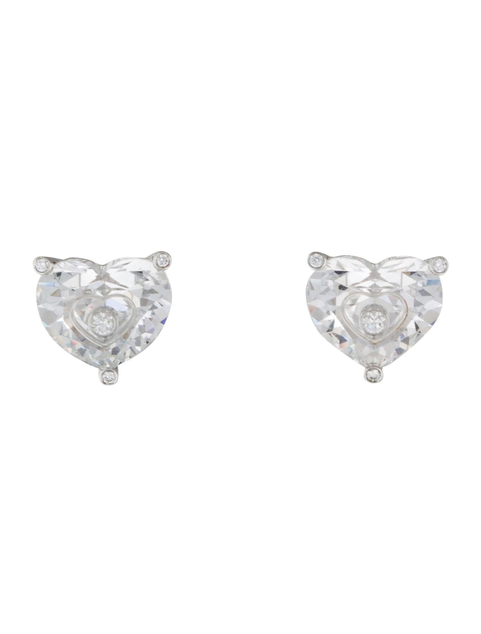 So Happy Floating Diamond Heart Earrings
