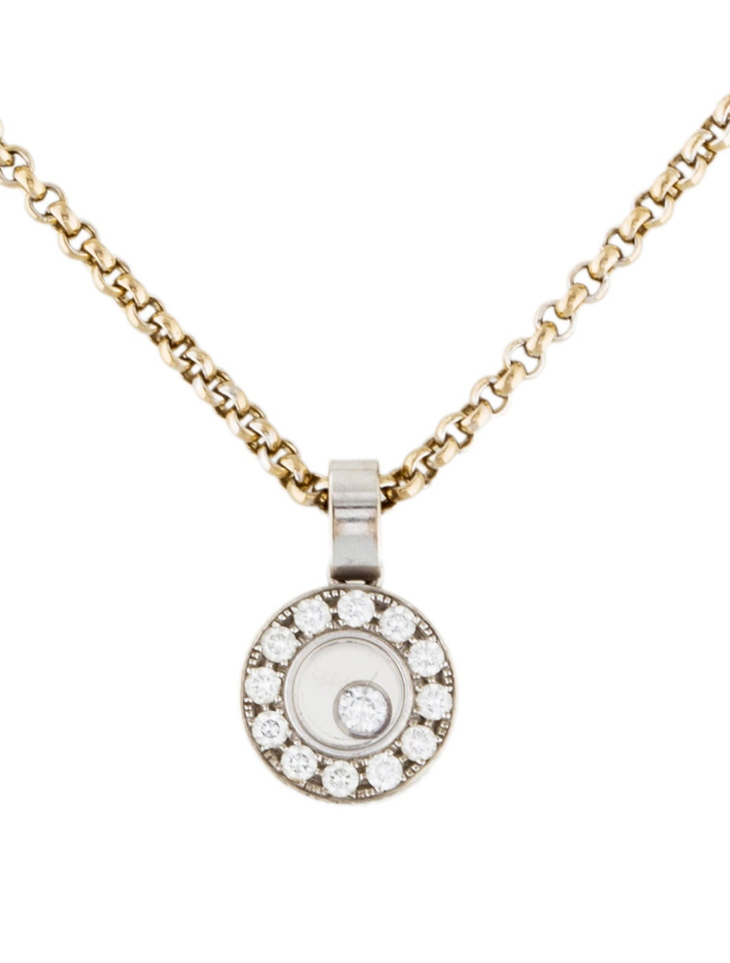 chopard happy diamonds icons circle pendant necklace