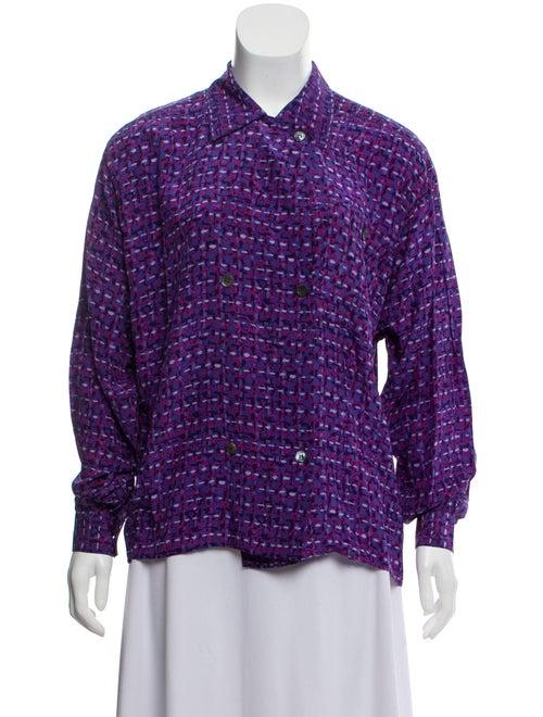 Christian Dior Silk Button-Up Top Purple