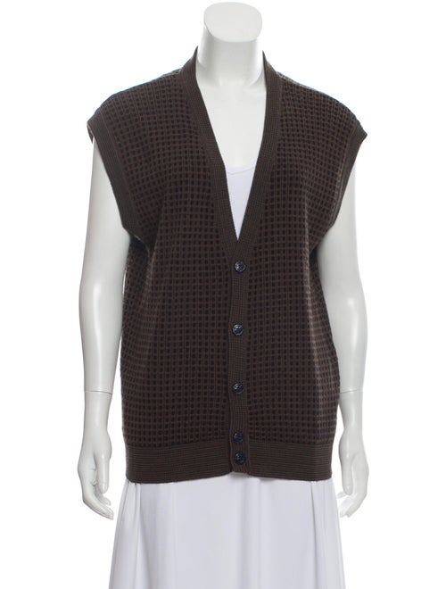 Christian Dior Wool Short Sleeve Cardigan Brown