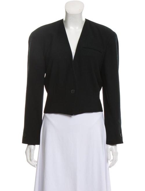 Christian Dior Virgin Wool Collarless Blazer Black