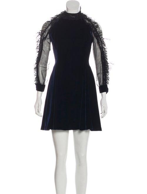 Christian Dior Lace-Trimmed Velvet Dress black