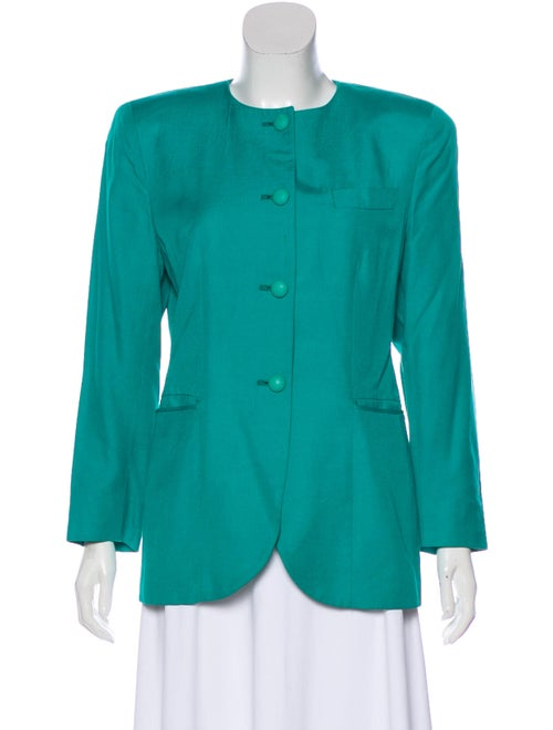 Christian Dior Structured Long Sleeve Blazer Teal