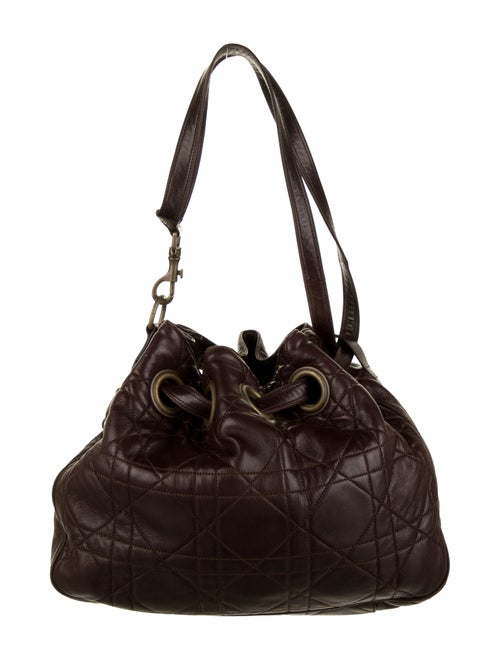 Christian Dior Cannage Drawstring Bag Brown
