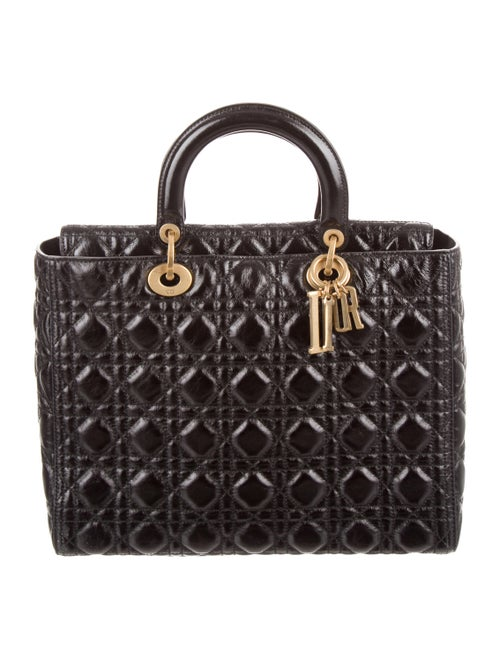 Christian Dior Large Lady Dior Bag gold