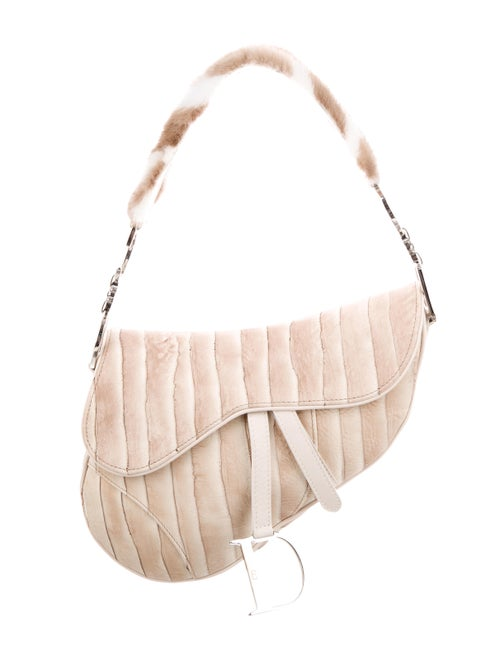 Christian Dior Mink-Trimmed Eel Saddle Bag Beige