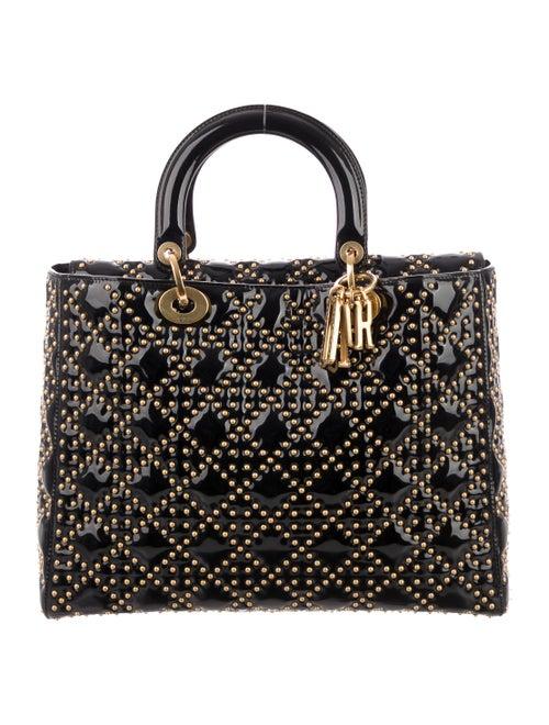 Christian Dior Large Studded Lady Dior Bag Black