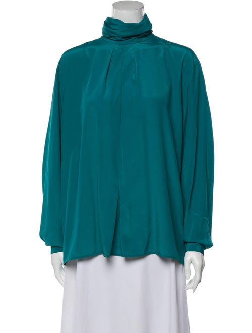 Christian Dior Turtleneck Long Sleeve Blouse Green