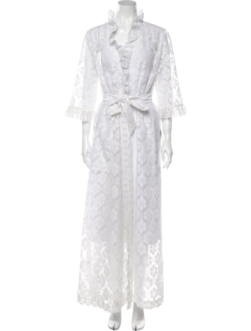 Christian Dior Vintage Lace Pattern Robe White