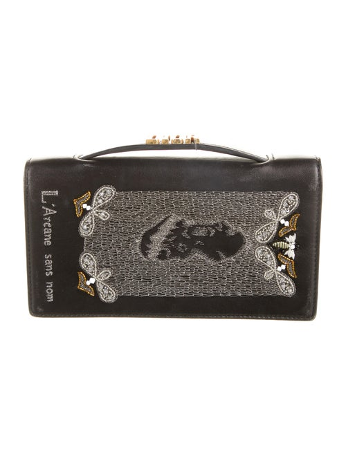Christian Dior Embroidered Death Clutch Black