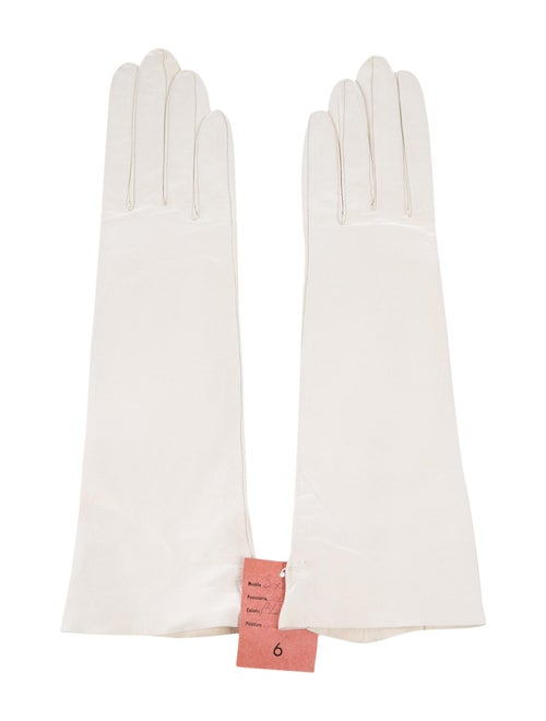 Christian Dior Vintage Leather Long Gloves White