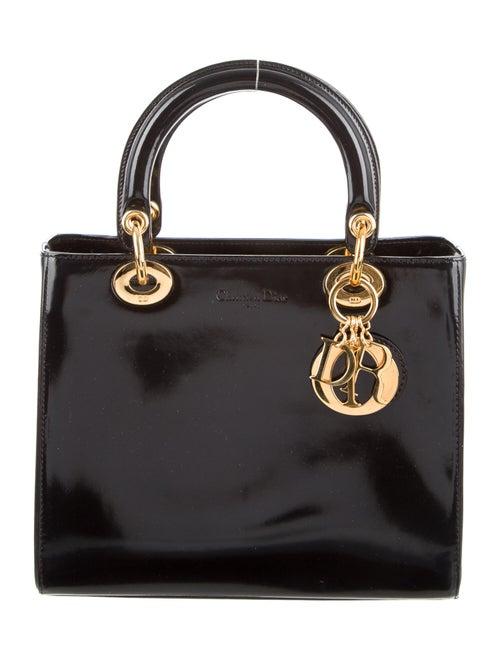 Christian Dior Patent Medium Lady Dior Bag w/ Stra