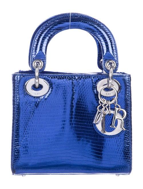 Christian Dior Lizard Mini Lady Dior Bag Blue