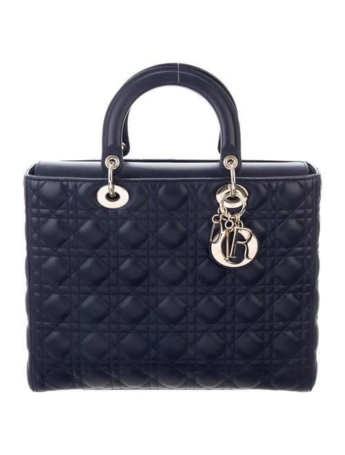 Christian Dior 2018 Large Lady Dior Bag w/Strap Bl