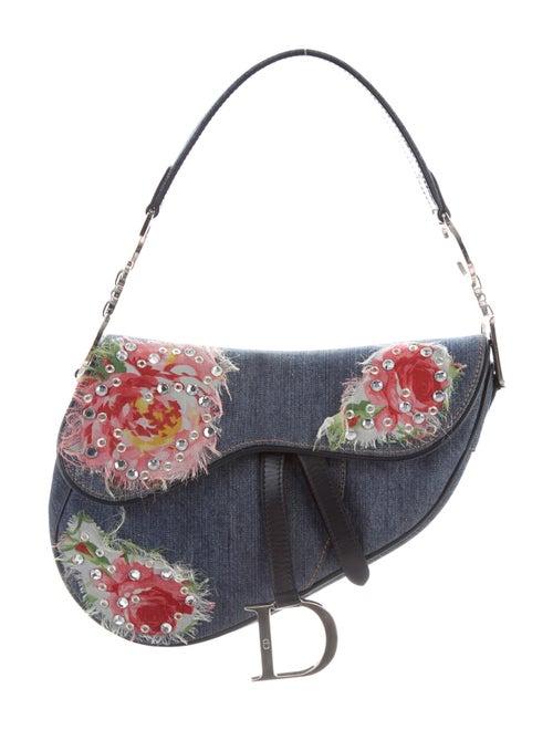 Christian Dior Embellished Denim Saddle Bag Blue - image 1