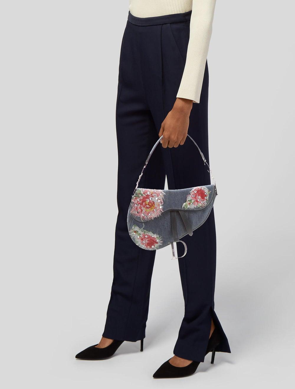 Christian Dior Embellished Denim Saddle Bag Blue - image 2