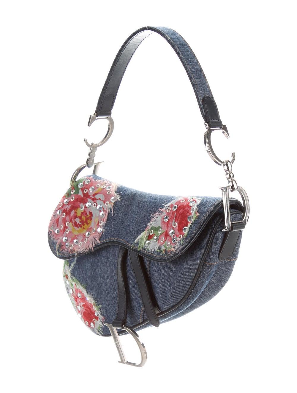 Christian Dior Embellished Denim Saddle Bag Blue - image 3